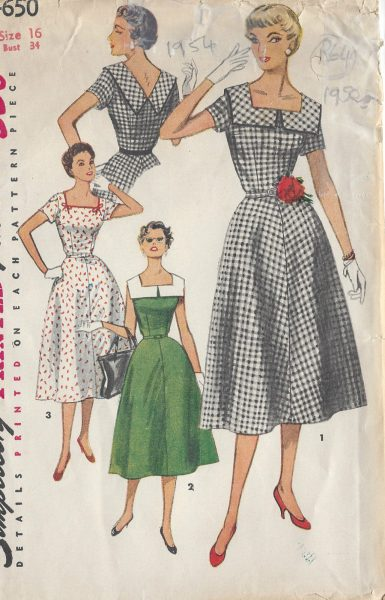 1954-Vintage-Sewing-Pattern-DRESS-B34-R64-251144841532