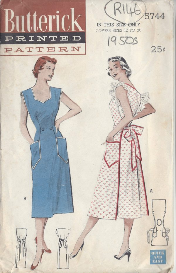 195Os Vintage Sewing Pattern SIZE:12-to-20 COVERALL APRON (R146 ...