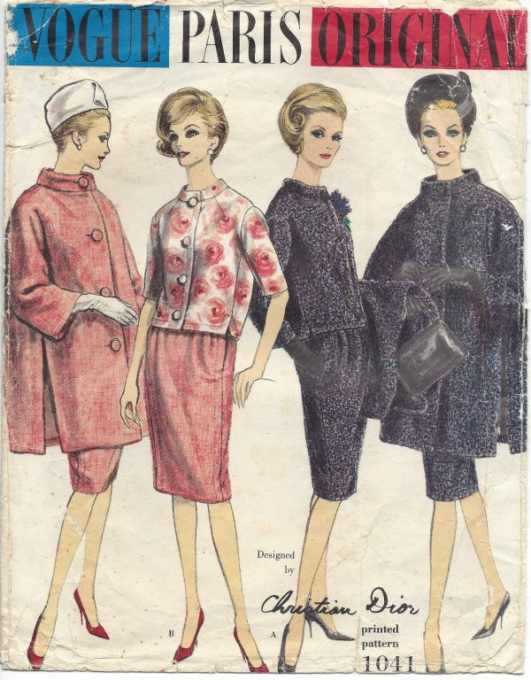 1960-Vintage-VOGUE-Sewing-Pattern-B34-SUIT-COAT-JACKET-SKIRT-1380-Dior-261720869382