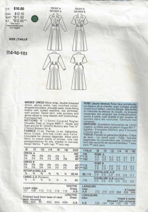 1986-Vintage-VOGUE-Sewing-Pattern-MOCK-WRAP-DRESS-B36-38-40-1703-RALPH-LAUREN-252484232772-2