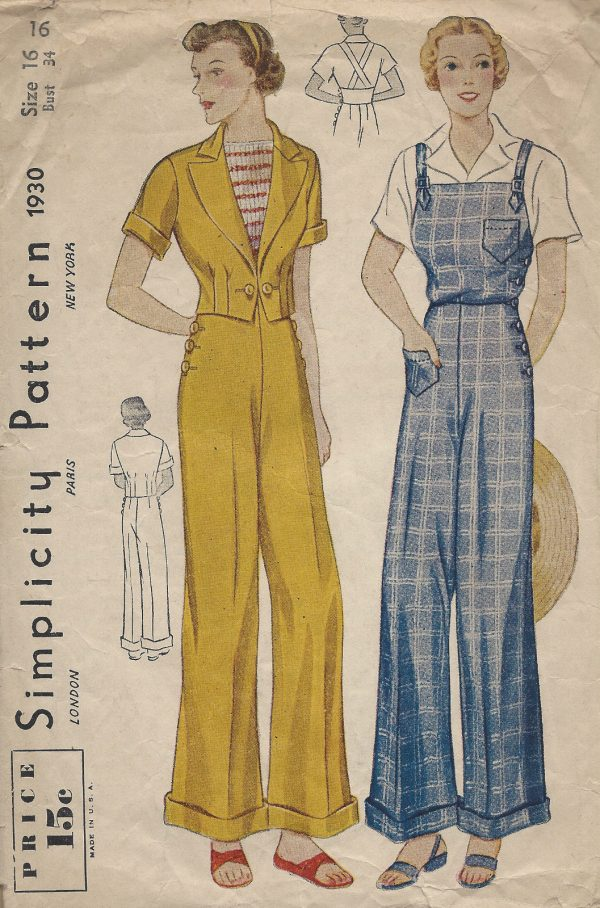 1930s-Vintage-Sewing-Pattern-B34-OVERALLS-TROUSERS-JACKET-1259-251548534873