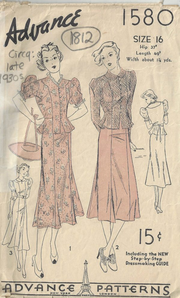 1930s-Vintage-Sewing-Pattern-B34-TWO-PIECE-DRESS-1812-252879955293