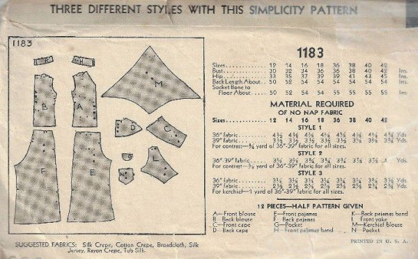 1930s-Vintage-Sewing-Pattern-B36-BLOUSE-PAJAME-PANTS-NOT-pyjamas-1798R-252827246253-2