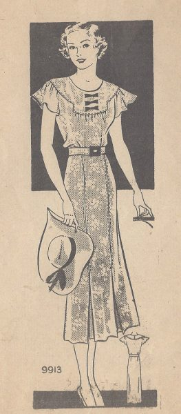 1930s-Vintage-Sewing-Pattern-DRESS-B36-R505-MARIAN-MARTIN-251142497043