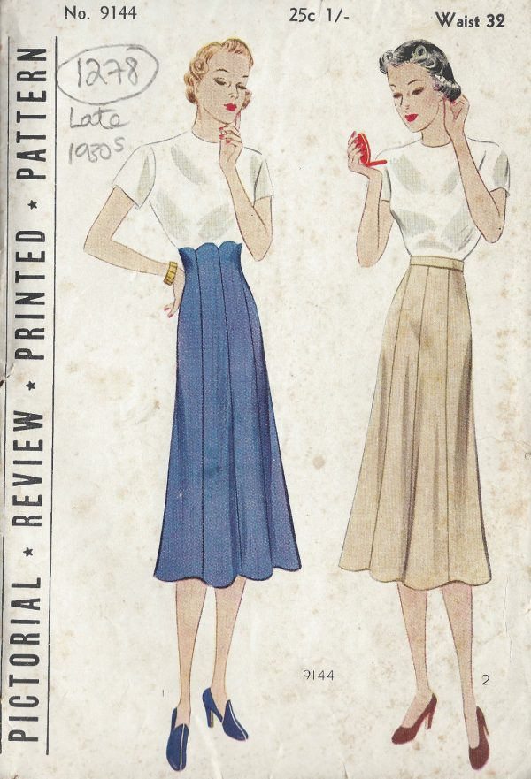 1930s-Vintage-Sewing-Pattern-WAIST32-SKIRT-1278-261510010453