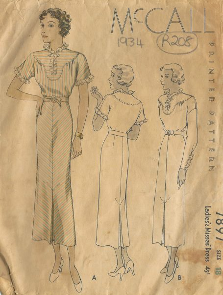 1934-Vintage-Sewing-Pattern-B36-DRESS-R208-251143626423