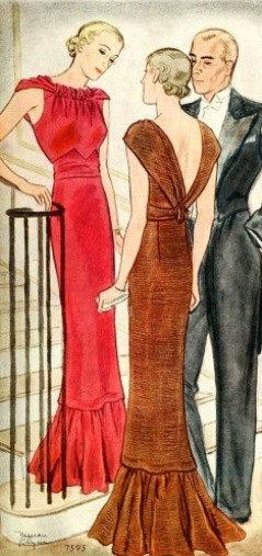 1939-Vintage-Sewing-Pattern-B32-EVENING-DRESS-R956-261203683893-2