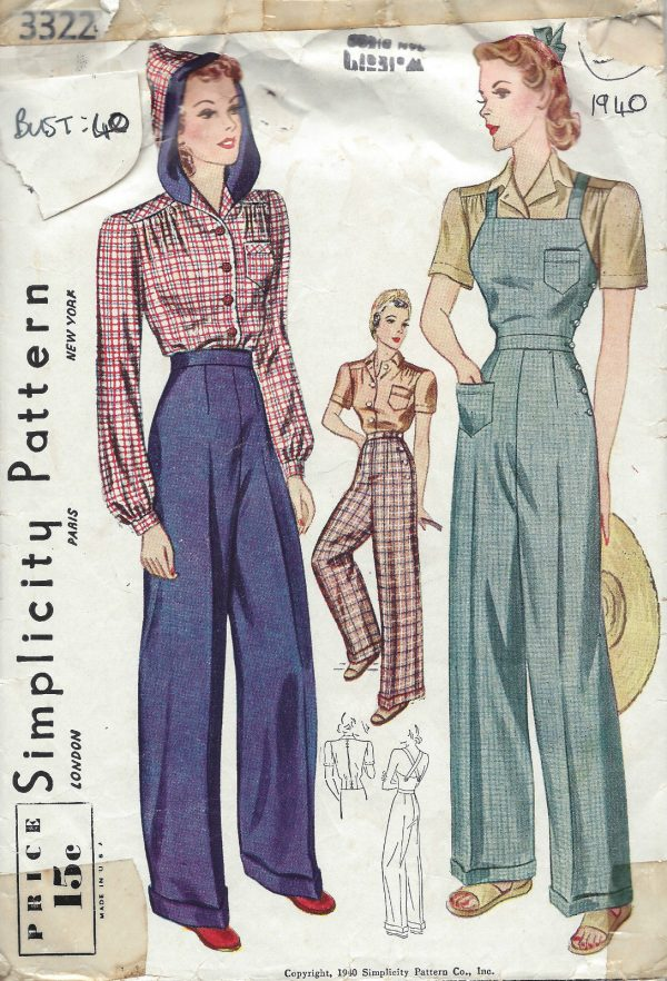1940-Vintage-Sewing-Pattern-B40-W34-BLOUSE-TROUSERS-OVERALLS-1228-9-261645651143