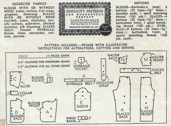 1940-Vintage-Sewing-Pattern-B42-W36-BLOUSE-TROUSERS-OVERALLS-1229-251976590453-2