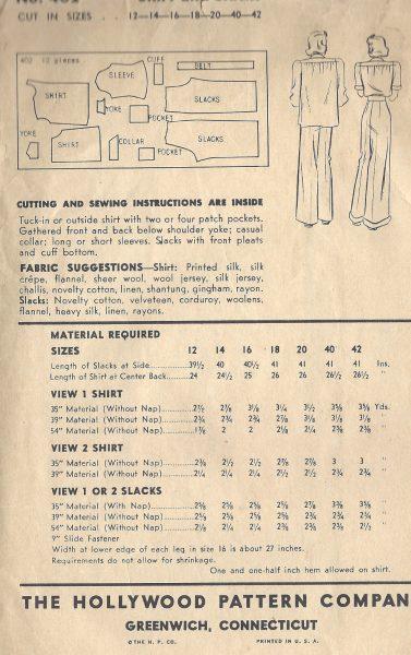 1940-WW2-Vintage-Sewing-Pattern-B34-SHIRT-PANTS-SLACKS-1491R-252081940453-3