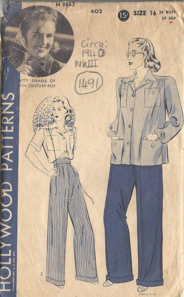 1940-WW2-Vintage-Sewing-Pattern-B34-SHIRT-PANTS-SLACKS-1491R-252081940453