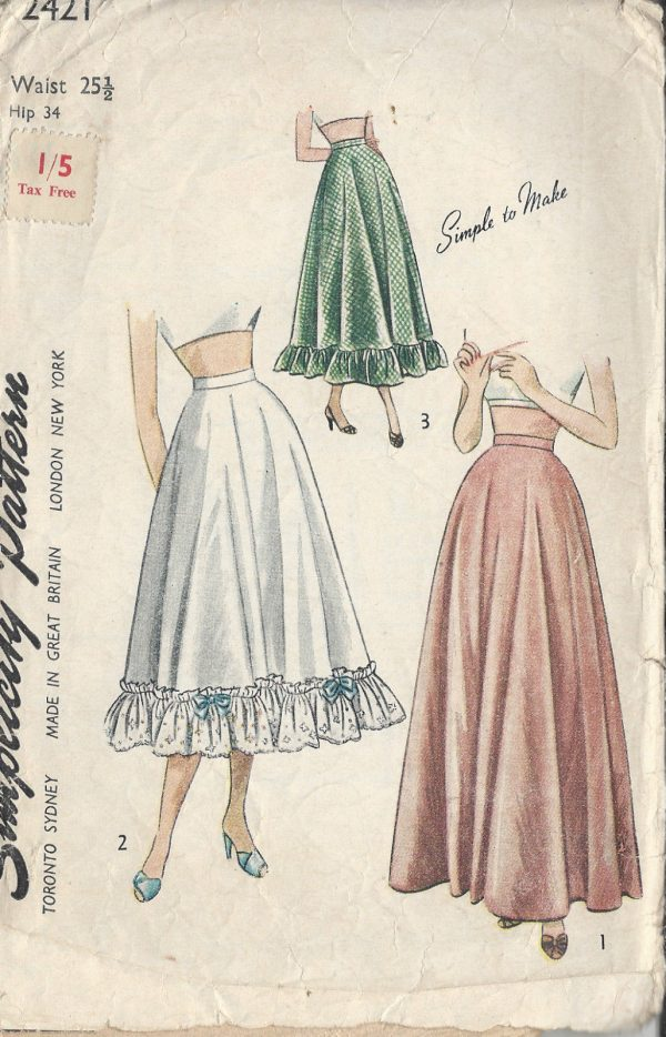 1940s Vintage Sewing Pattern Petticoat W25 12 R611 The Vintage