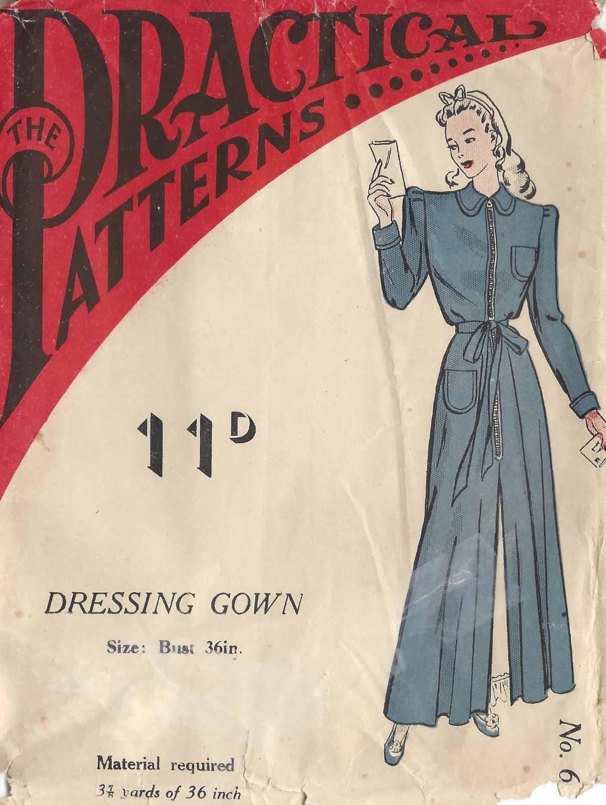 1940s Ww2 Vintage Sewing Pattern 36 Quot Dressing Gown 1329