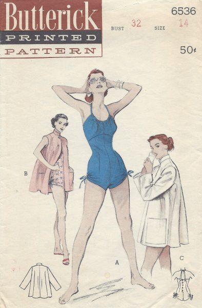 1950s-Vintage-Sewing-Pattern-B32-SWIMSUIT-BEACHCOAT-R968R-252564244793