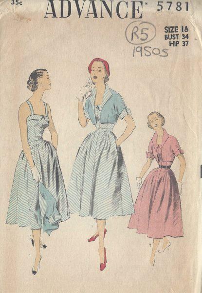 1950s-Vintage-Sewing-Pattern-B34-DRESS-BOLERO-JACKET-R5-251172208023