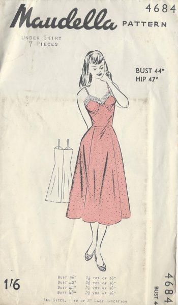 1950s-Vintage-Sewing-Pattern-B44-PETTICOAT-SLIP-R646-251175169073