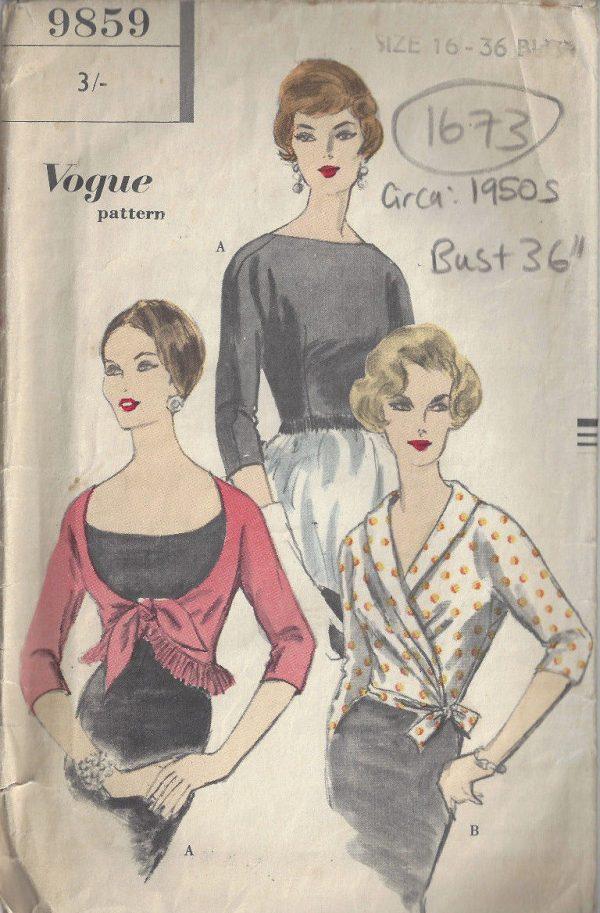 1950s-Vintage-VOGUE-Sewing-Pattern-B36-BLOUSE-1673-262498078703