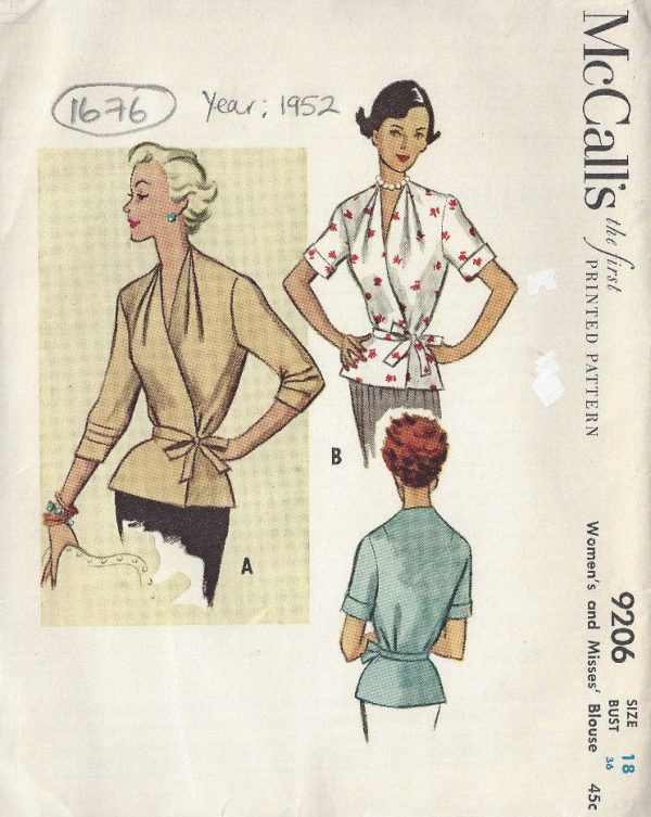 1952-Vintage-Sewing-Pattern-BLOUSE-B36-1676-262513085913