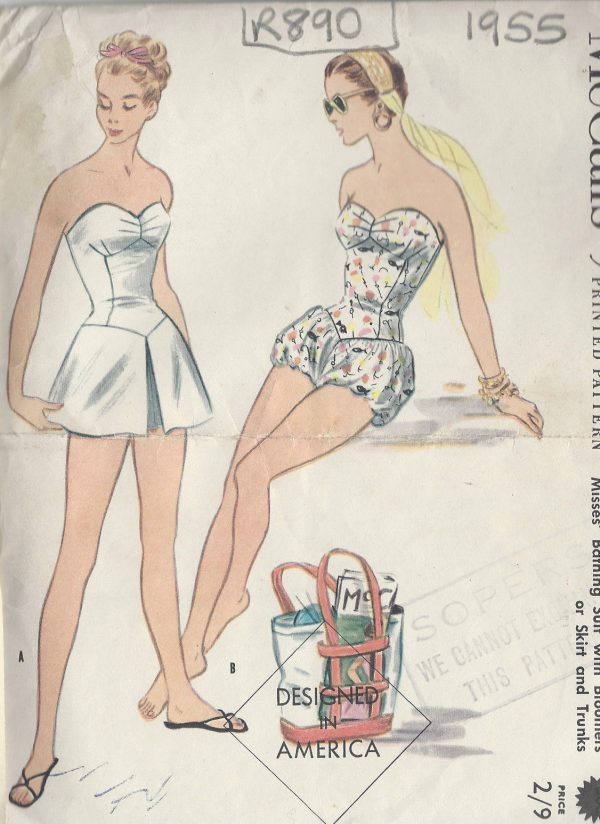 1955-Vintage-Sewing-Pattern-B34-BATHING-SUIT-SKIRT-TRUNKS-BLOOMERS-R890-261935045583