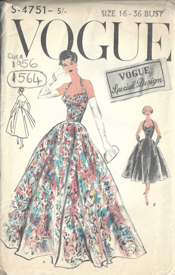 1956-Vintage-VOGUE-Sewing-Pattern-B36-EVENING-DRESS-1564-262189899383