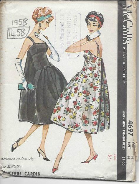 1958-Vintage-Sewing-Pattern-B34-DRESS-1458-By-PIERRE-CARDIN-261959916423