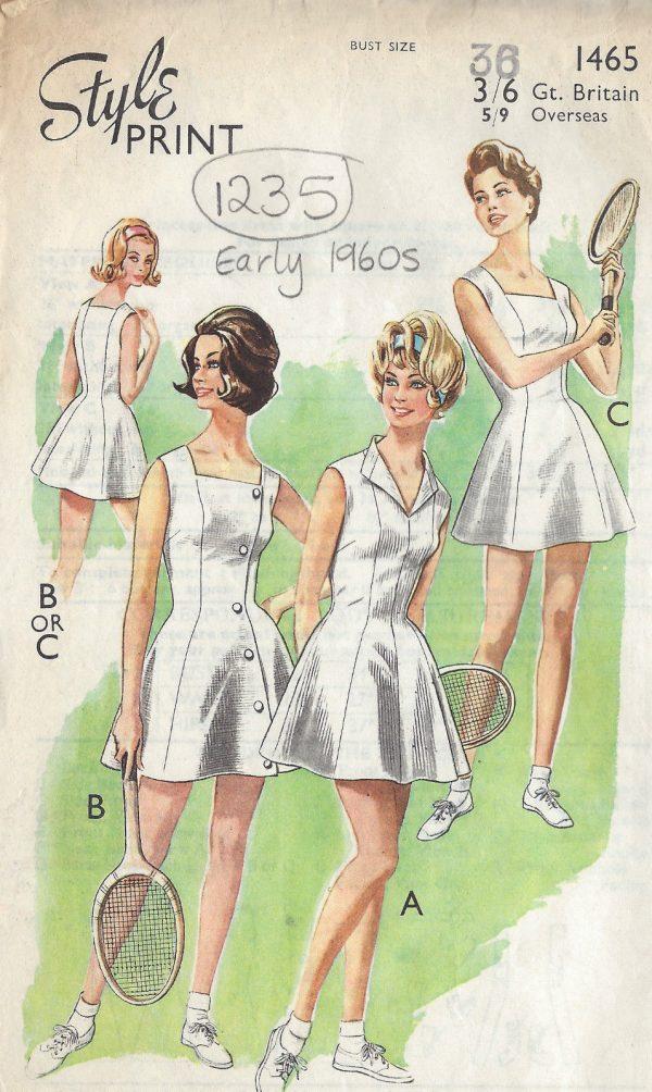 1960s-Vintage-Sewing-Pattern-B36-TENNIS-DRESS-1235-251509747763