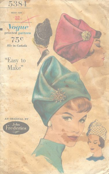 1961-Vintage-VOGUE-Sewing-Pattern-SIZE22-HAT-1104-By-John-Frederics-251333030973