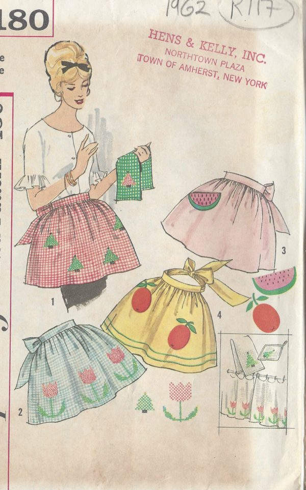 1962-Vintage-Sewing-Pattern-APRON-ONE-SIZE-R117-251144479773