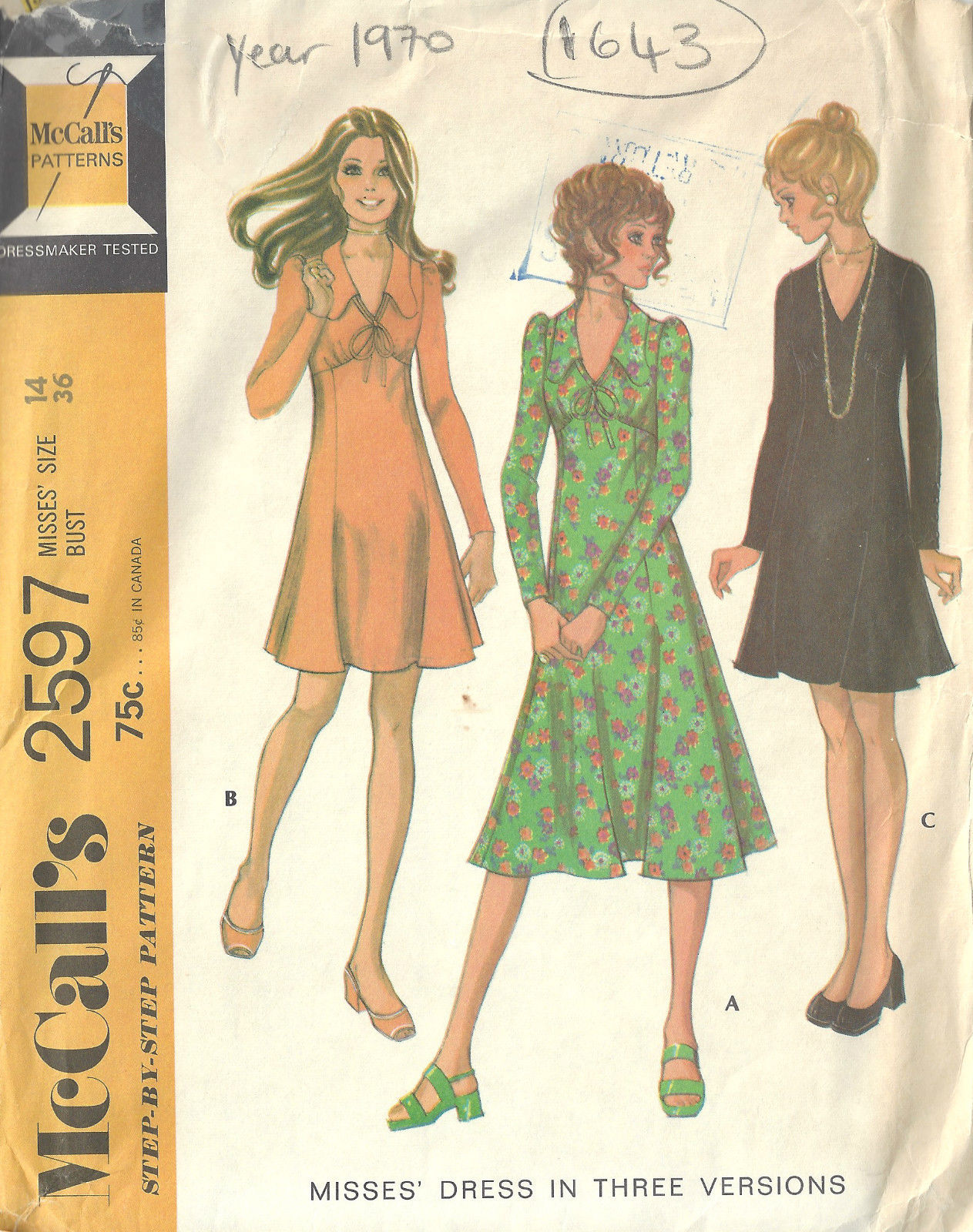 1970 Vintage Sewing Pattern B36 Quot Dress 1643 The
