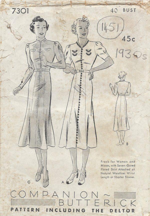 1930s-Vintage-Sewing-Pattern-B40-DRESS-1451-252016415944