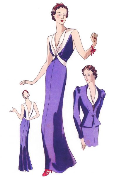 1939-VOGUE-Vintage-Sewing-Pattern-B34-EVENING-DRESS-JACKET-1026R-262847815594-2