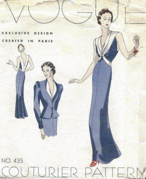 1939-VOGUE-Vintage-Sewing-Pattern-B34-EVENING-DRESS-JACKET-1026R-262847815594