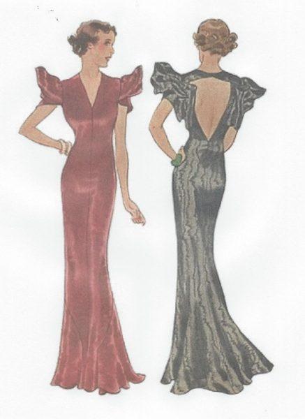 1939-Vintage-Sewing-Pattern-B36-EVENING-DRESS-R955-251263756714