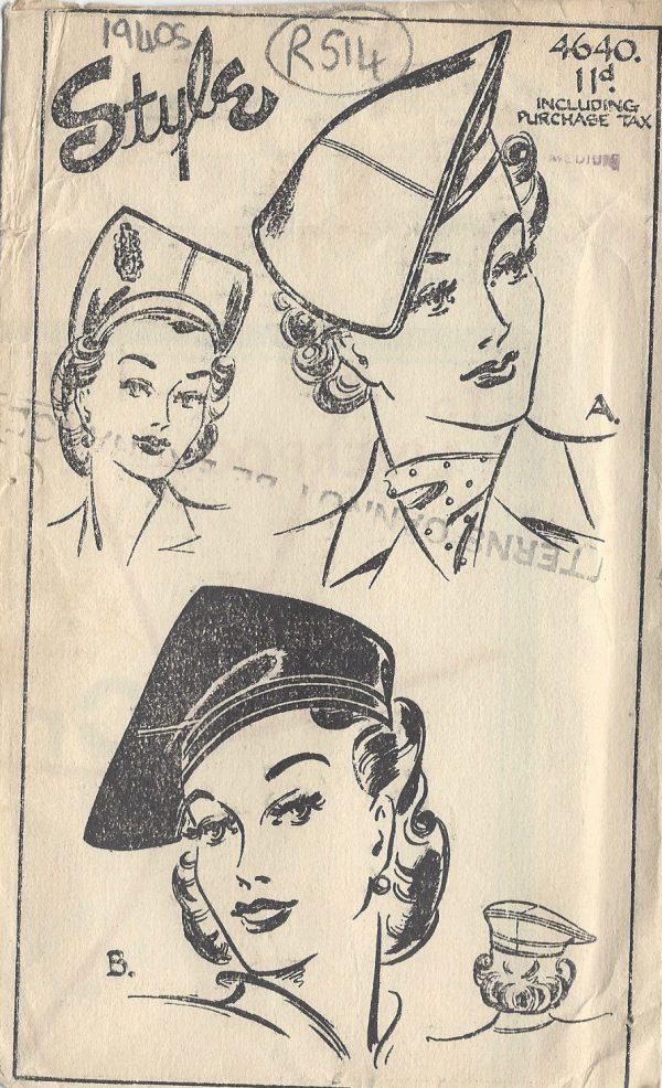 1940s-Vintage-Sewing-Pattern-HAT-S22-MEDIUM-R514-251142482694
