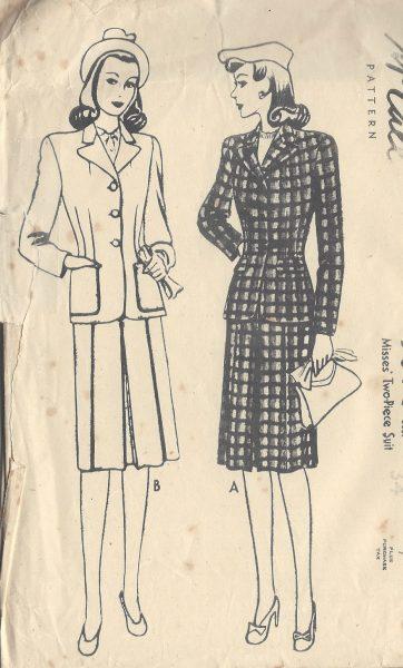 1940s-Vintage-Sewing-Pattern-SUIT-SKIRT-JACKET-B34-R638-251172811444
