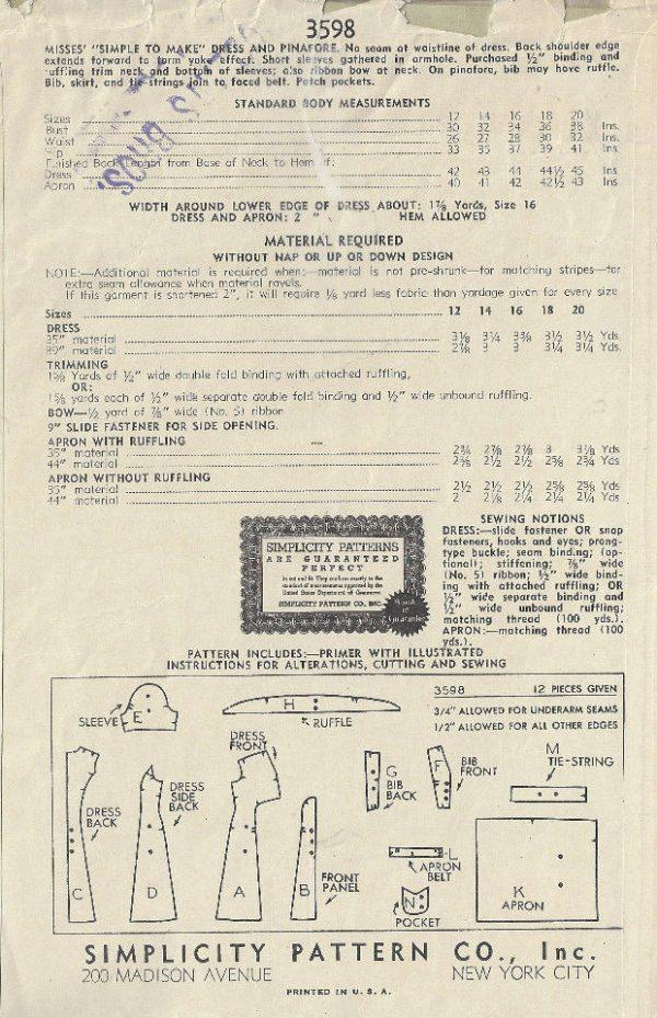 1940s-WW11-Vintage-Sewing-Pattern-B36-PINAFORE-DRESS-1740R-262576252794-2