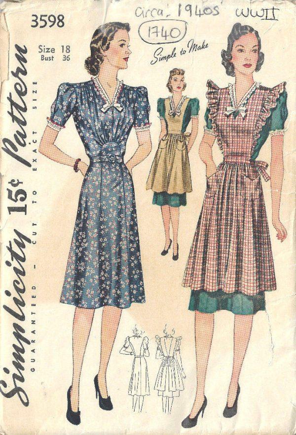 1940s-WW11-Vintage-Sewing-Pattern-B36-PINAFORE-DRESS-1740R-262576252794