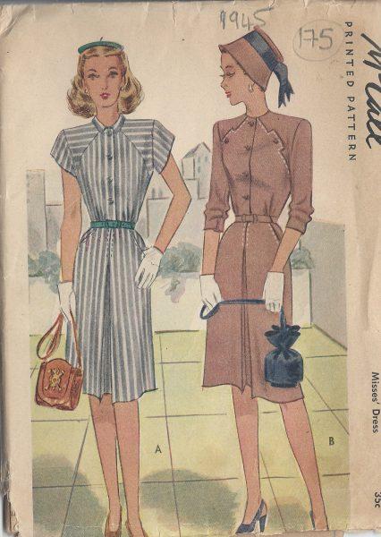 1945-Vintage-Sewing-Pattern-B32-DRESS-175-251173260944