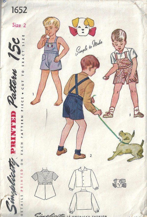 1945-WW2-Childrens-Vintage-Sewing-Pattern-S2-C21-BOYS-PLAYSUIT-SHIRT-C25-252527109214