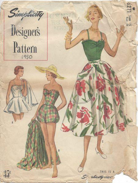 1950-Vintage-Sewing-Pattern-B33-BATHING-SUIT-SKIRT-R975-262503405474