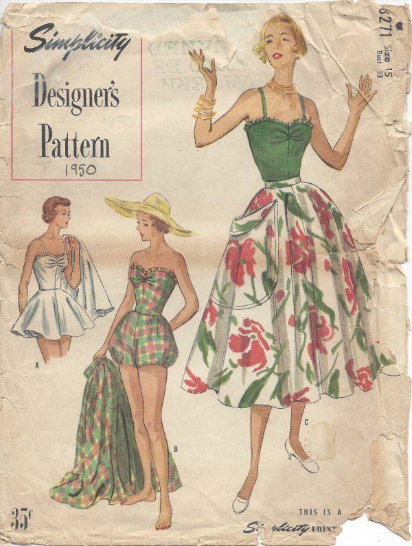 1950-Vintage-Sewing-Pattern-B33-BATHING-SUIT-SKIRT-R975-262503405474