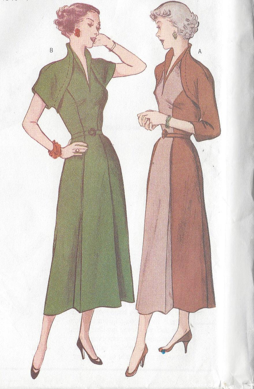 1950 Vintage Sewing Pattern Dress B34 Quot 36 Quot 38 Quot R415