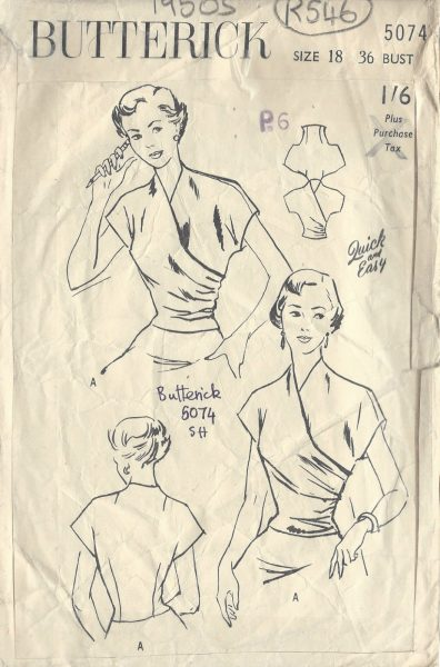 1950s-Vintage-Sewing-Pattern-BLOUSE-B36-R546-251919200714