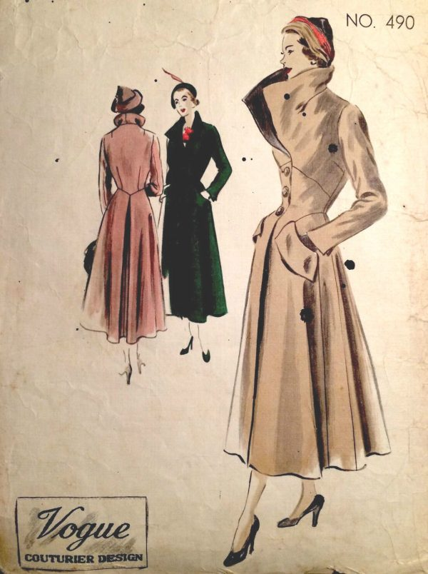 1950s-Vintage-VOGUE-Sewing-Pattern-B38-COAT-1387-261753964354