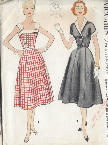 1954-Vintage-Sewing-Pattern-B34-DRESS-BOLERO-JACKET-R2-251172210374