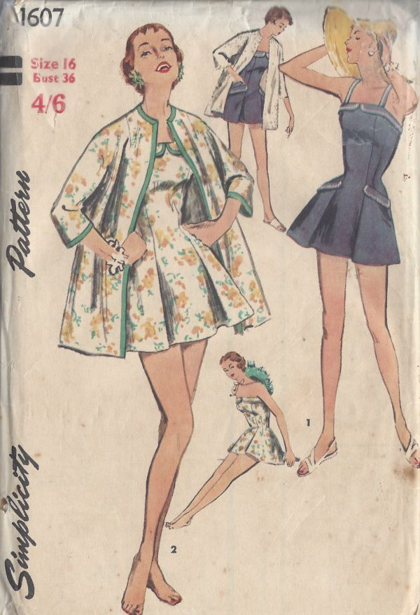 1956-Vintage-Sewing-Pattern-B36-COAT-BATHING-SUIT-1046R-252562589594