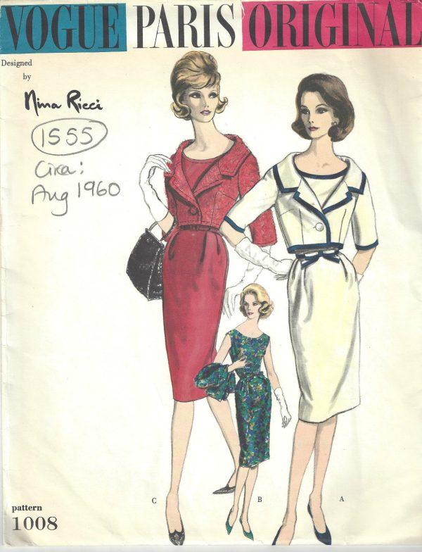 1960-Vintage-VOGUE-Sewing-Pattern-B38-DRESS-BOLERO-JACKET-1555-By-Nina-Ricci-262179779834