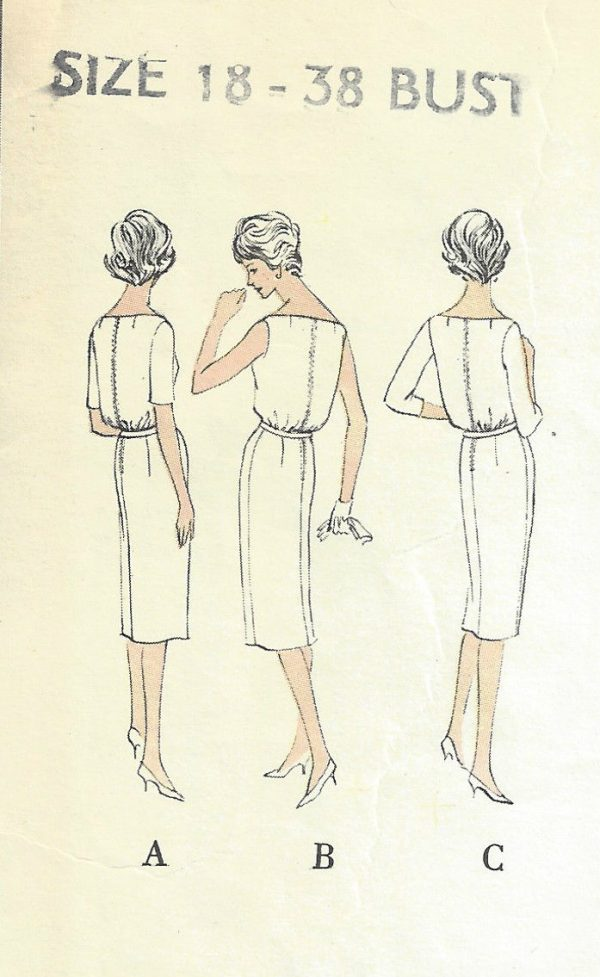 1960-Vintage-VOGUE-Sewing-Pattern-DRESS-B38-1554-By-Patou-252202838254-3