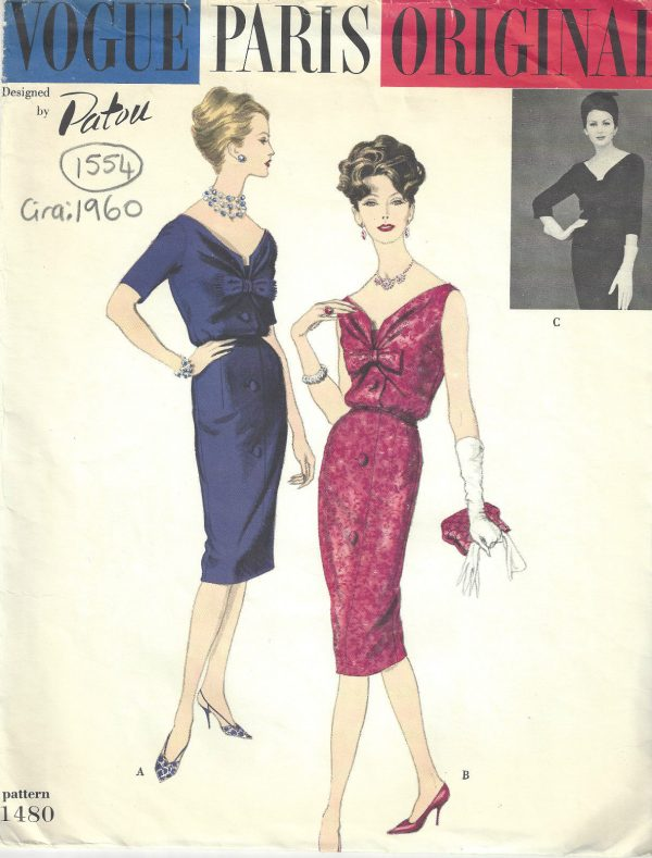 1960-Vintage-VOGUE-Sewing-Pattern-DRESS-B38-1554-By-Patou-252202838254
