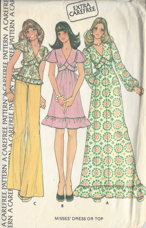 1974-Vintage-Sewing-Pattern-B34-PULLOVER-DRESS-TOP-R785-261139993344
